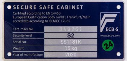 Cofre Certificado EN 14450 S2